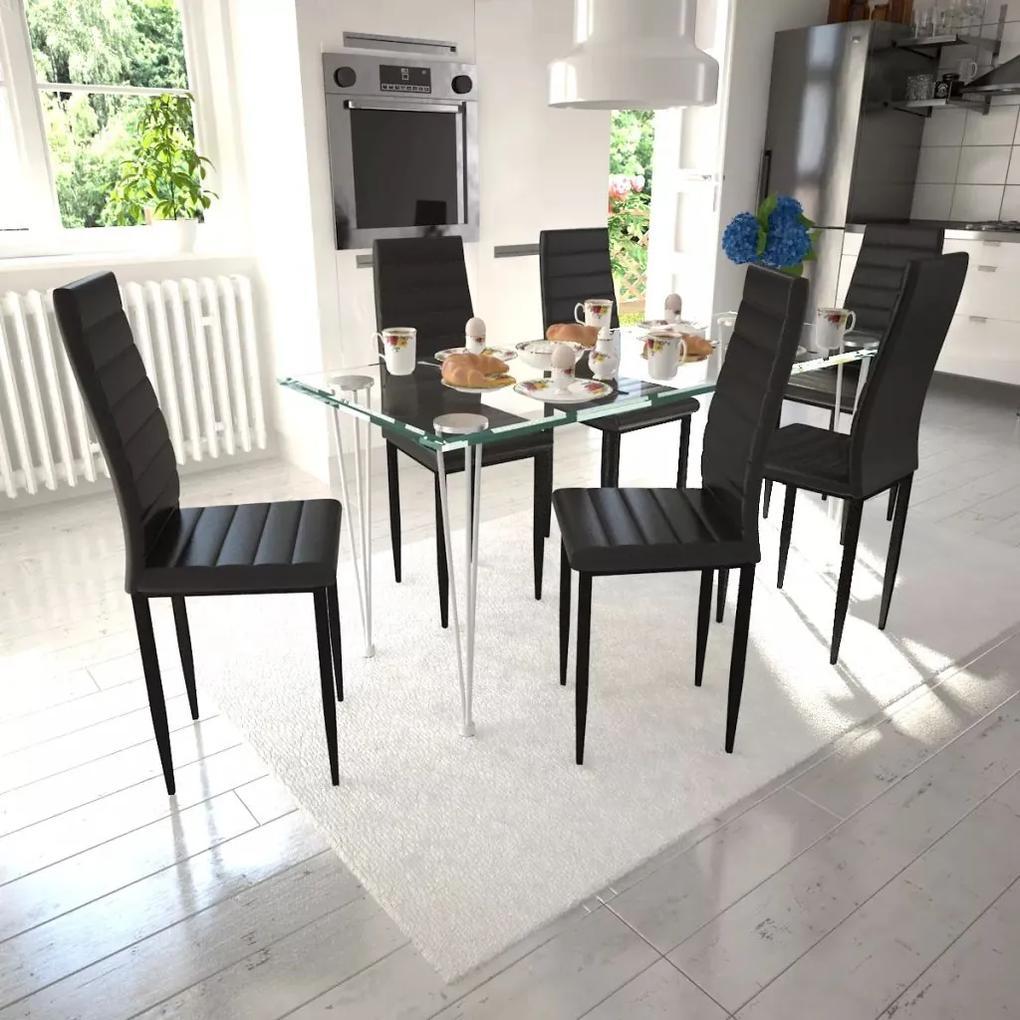 vidaXL Kuchynský set, 6 čiernych stoličiek s úzkymi líniami + 1 sklenený stôl