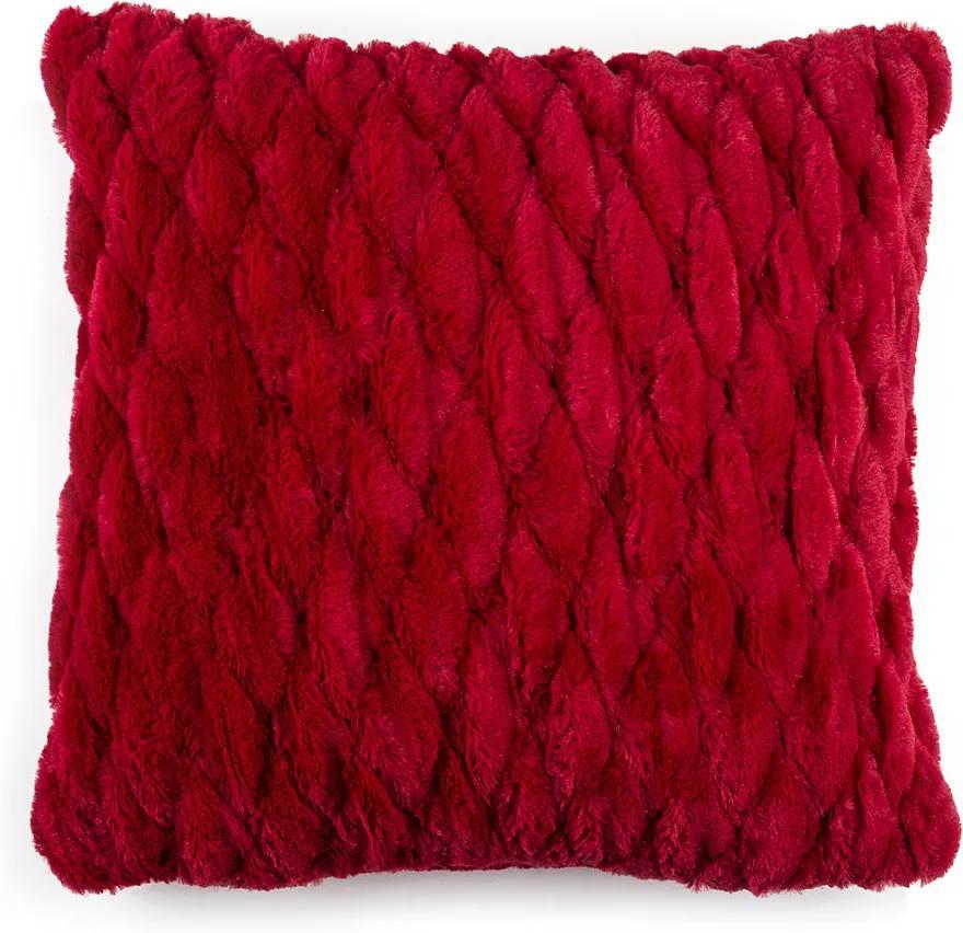BO-MA obliečka na vankúš chlpatý prešívaný červená 45x45