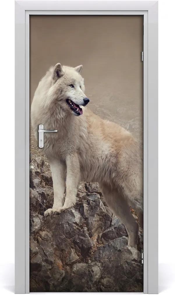 Samolepící fototapeta na dveře Vlk na skále