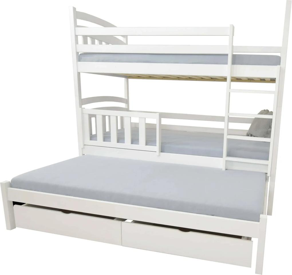 FA Petra 1 200x90 Poschodová posteľ s prístelkou Farba: Prírodná