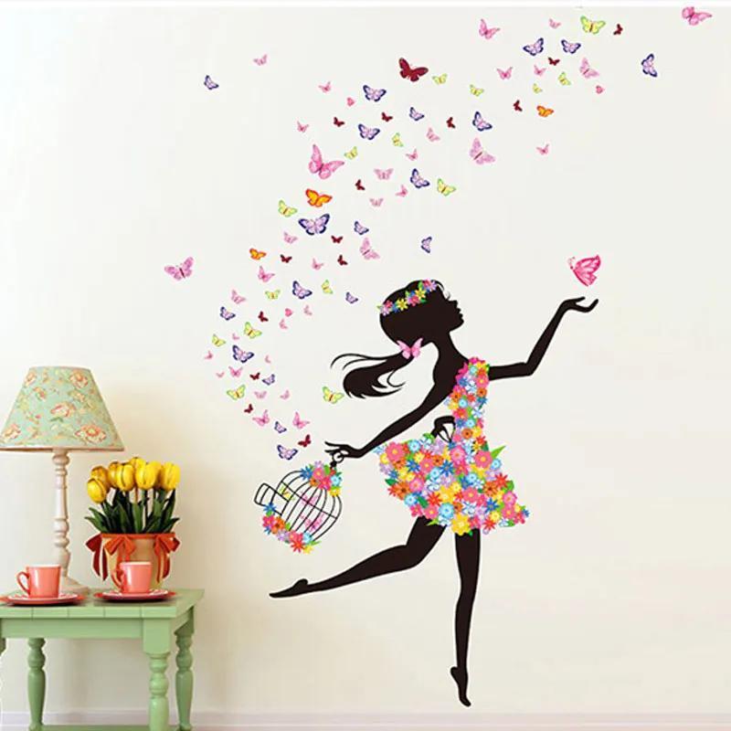 Veselá Stena Samolepka na stenu Dievča s klietkou