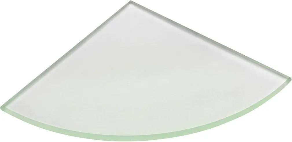 Sapho 22487 polica rohová, štvrťkruhová 200x200x8mm, mliečne sklo