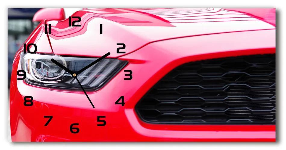 Sklenené hodiny na stenu Červený Mustang pl_zsp_60x30_f_104676754