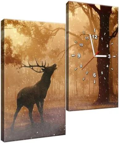 Obraz s hodinami Jeleň v daždi 60x60cm ZP2391A_2J