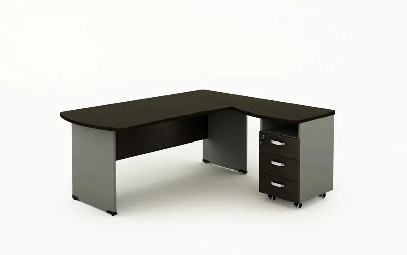 Rohový písací stôl BERN s kontajnerom - dĺžka 1800 mm, drevená podnož, wenge
