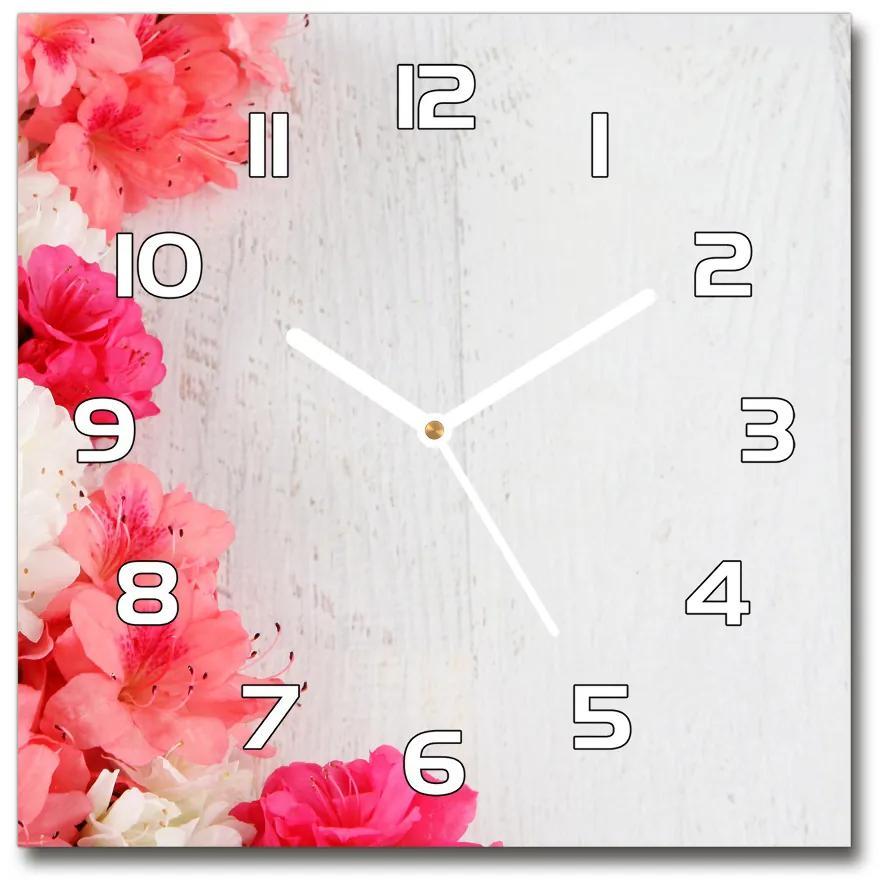 Sklenené nástenné hodiny štvorec Kvety pl_zsk_30x30_f_65120570