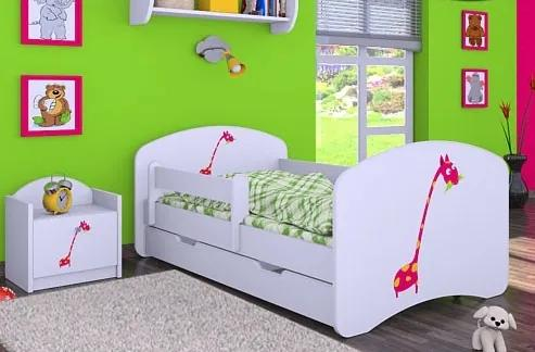 MAXMAX Detská posteľ so zásuvkou 140x70 ŽIRAFKA 140x70 pre dievča ÁNO