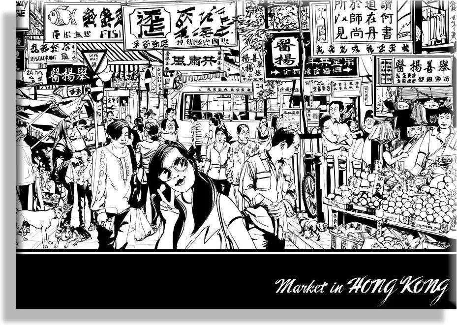 MAXMAX Obraz na plátne TRH V HONG KONG - vzor 31