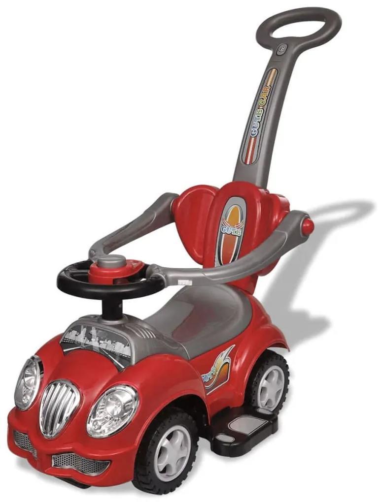 vidaXL Červené detské odrážacie autíčko s vodiacou tyčou