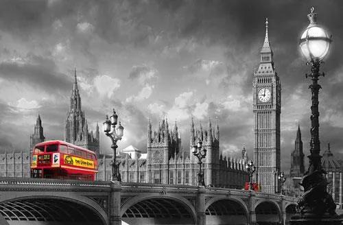 Fototapety, rozmer 175 x 115 cm, Bus on Westminster Bridge, W+G 697
