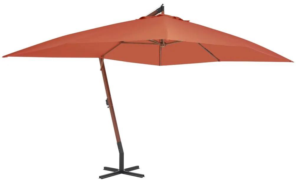 vidaXL Závesný slnečník s drevenou tyčou tehlovočervený 400x300 cm