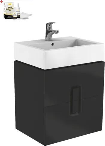 Kúpeľňová skrinka s umývadlom Kolo Twins 60x70 cm čierna mat SIKONKOTW602CM