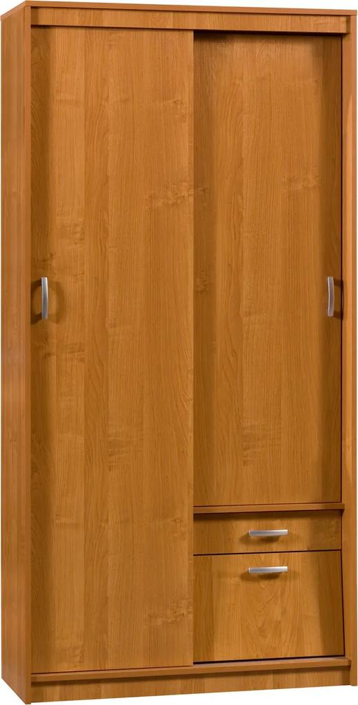 MEBLOCROSS Aleksander 3 3D šatníková skriňa s posuvnými dverami jelša