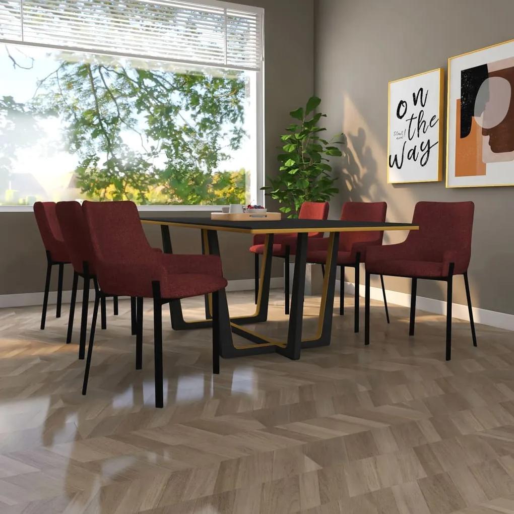 vidaXL Jedálenské stoličky 6 ks, vínové, látka