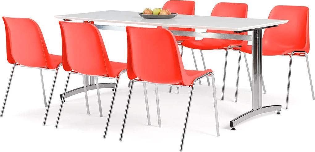 Jedálenská zostava 1x stôl Š 1800 x H 700, biela / chróm, 6x stolička červe