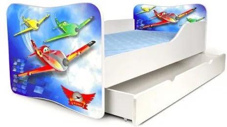 MAXMAX Detská posteľ so zásuvkou LIETADLÁ + matrac ZADARMO 180x80 pre chlapca ÁNO