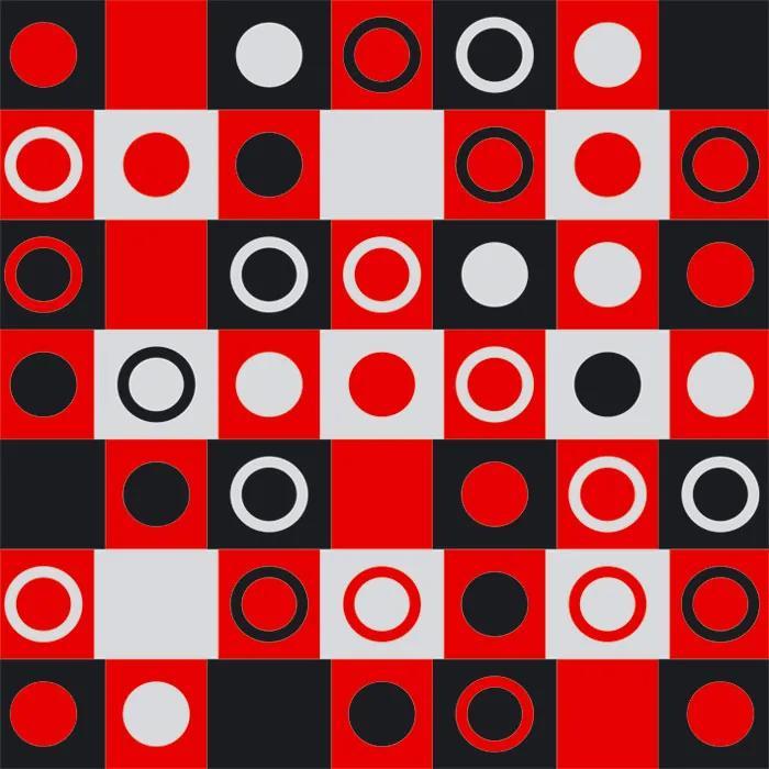 Dimex fototapeta Červenočierne štvorca s kruhmi L-406 | 220 x 220 cm