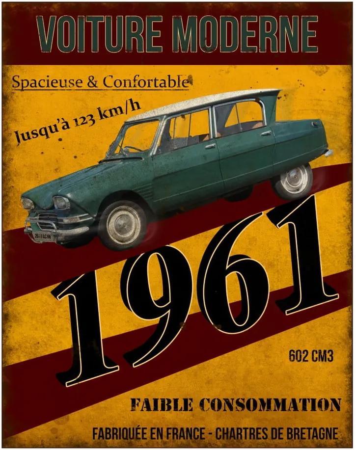 Kovová ceduľa Antic Line Voiture 1961, 22 x 28 cm