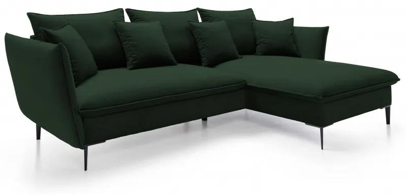 Hector Rohová pohovka Gloss R tmavě zelená