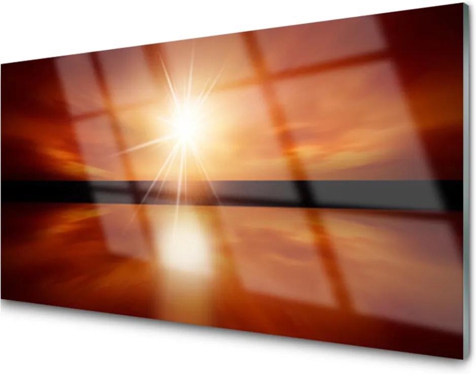 Skleněný obraz Slunce nebe voda krajina