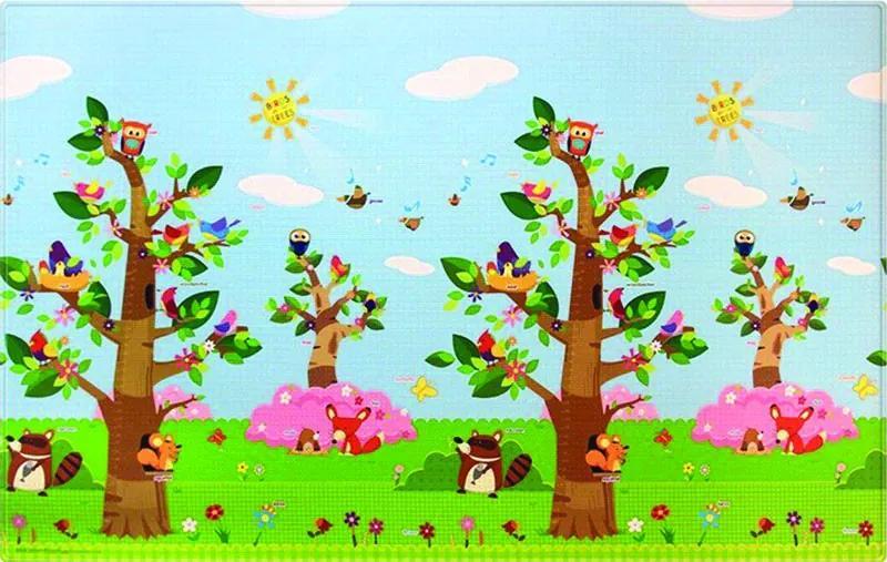 Oboustranný protiskluzový koberec Ptáci v korunách stromů - 140x210 cm