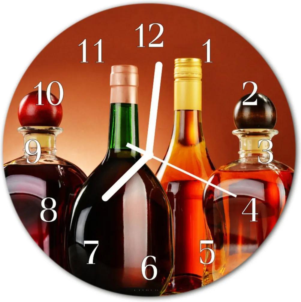 Nástenné skleněné hodiny alkoholy