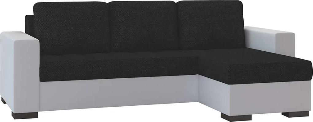 NABBI Novara L/P rohová sedačka s rozkladom a úložným priestorom čierna (Sawana 14) / biela (Soft 17)