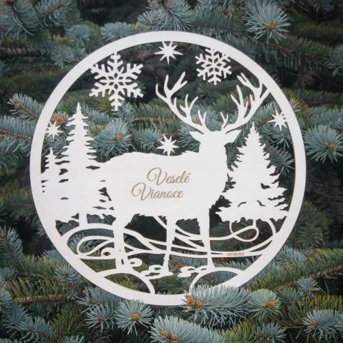 Vianočný jeleň na dvere - Veselé Vianoce