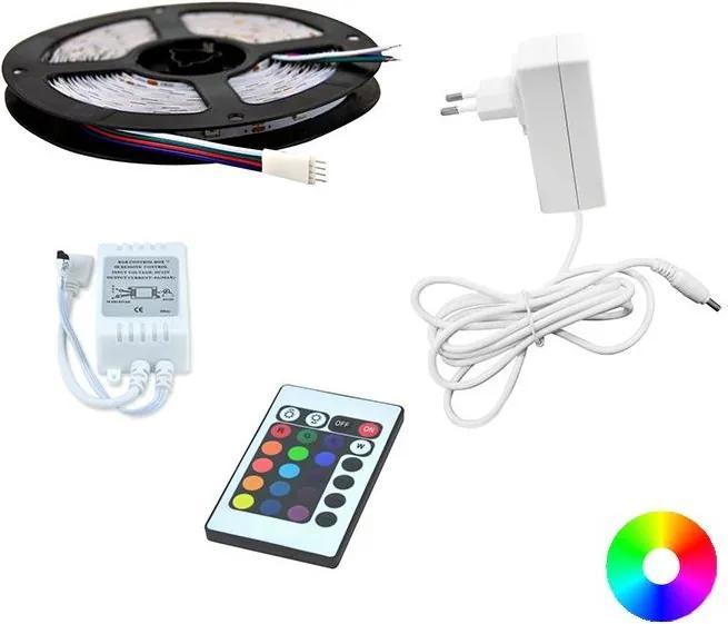 Polux LED RGB Pásik 5m + diaľkové ovládanie + napájací adaptér 24W/12V SA0594