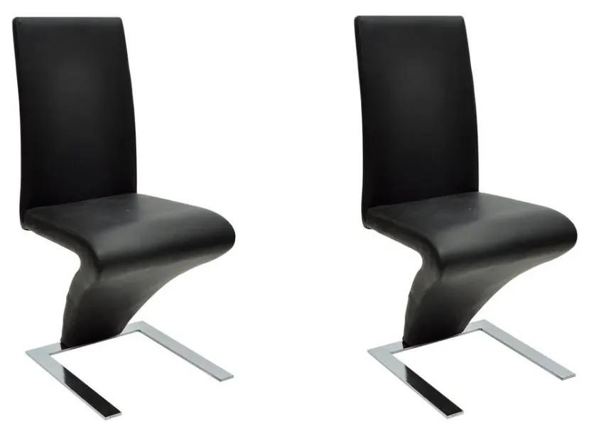 Jedálenské stoličky v tvare zig-zag, 2 ks, čierne