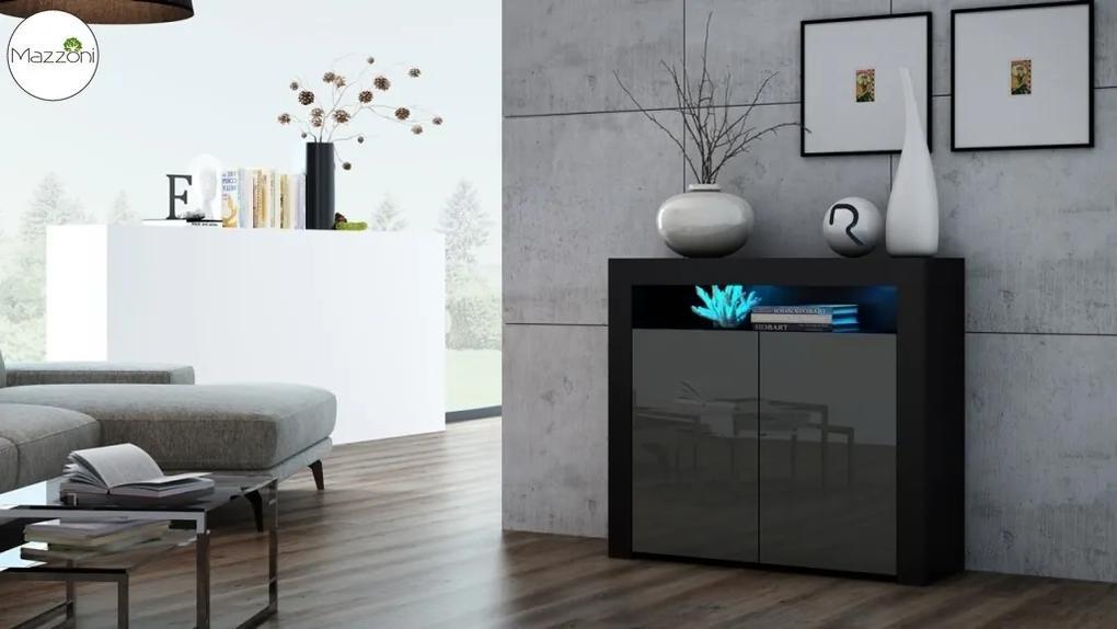 Mazzoni MILA 2D LED skrinka čierna / šedá lesk, obývacia izba