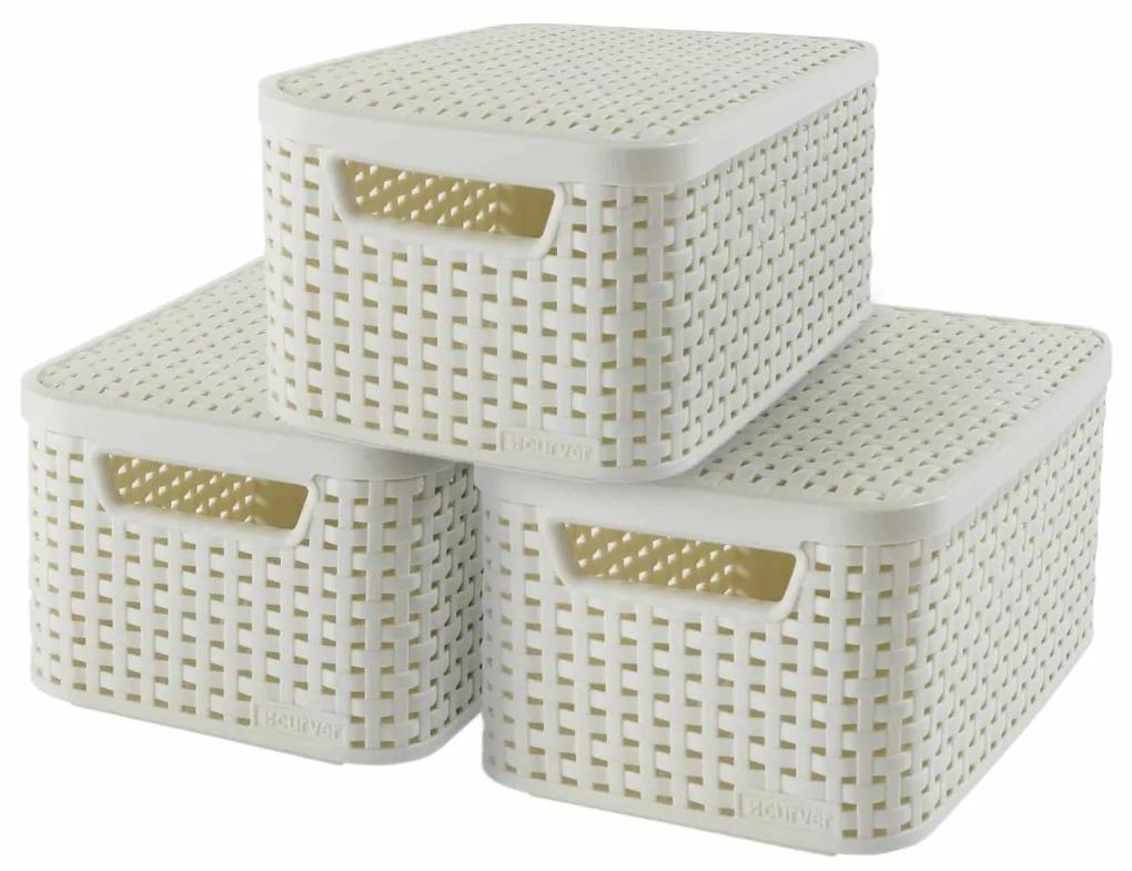 Curver Úložné boxy s vrchnákmi Style 3 ks biele veľkosť S 240586