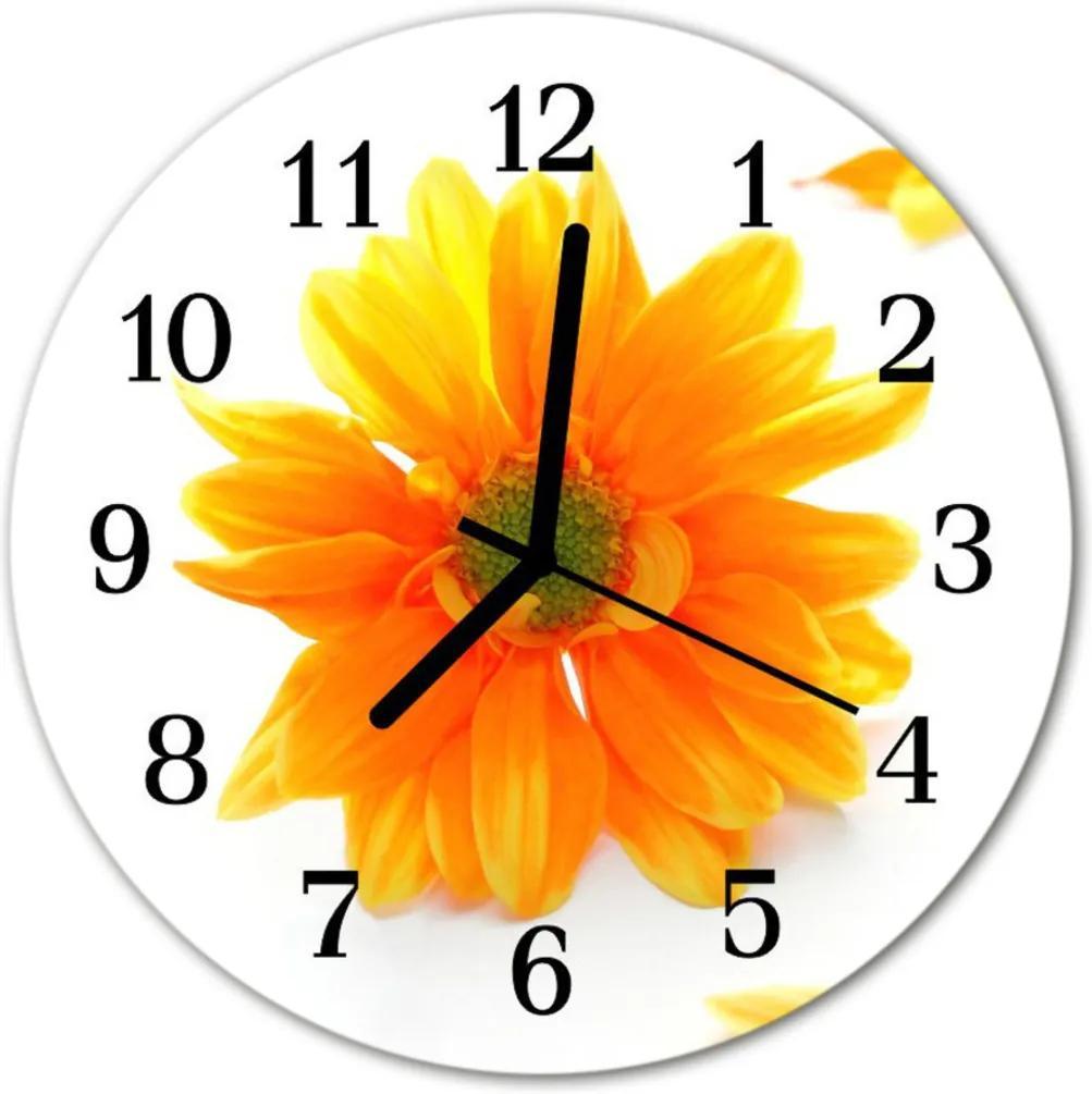 Skleněné hodiny kulaté květina