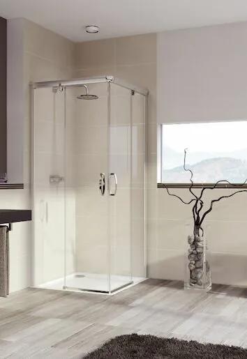 Sprchové dvere Huppe Aura Elegance dvojkrídlové 75 cm, sklo číre, chróm profil, univerzálny 401312.092.322.730