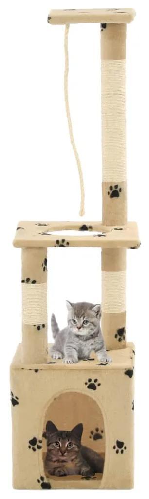 vidaXL Škrabadlo pre mačky sisalové stĺpiky 109 cm béžové s labkami