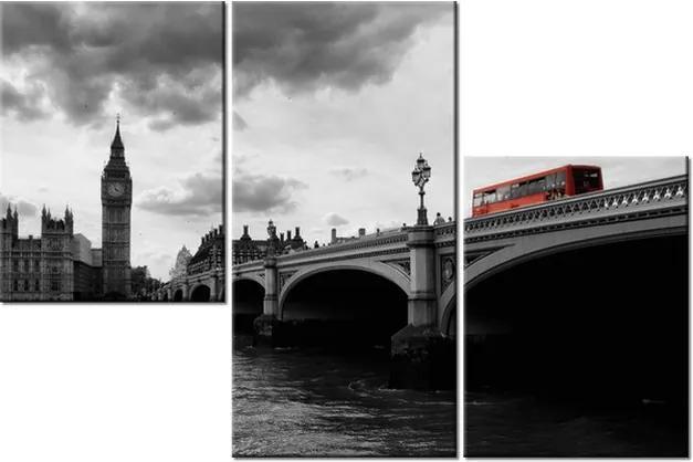 Tlačený obraz Londýnskym autobusom k veži Big Ben 90x60cm 1014A_3L