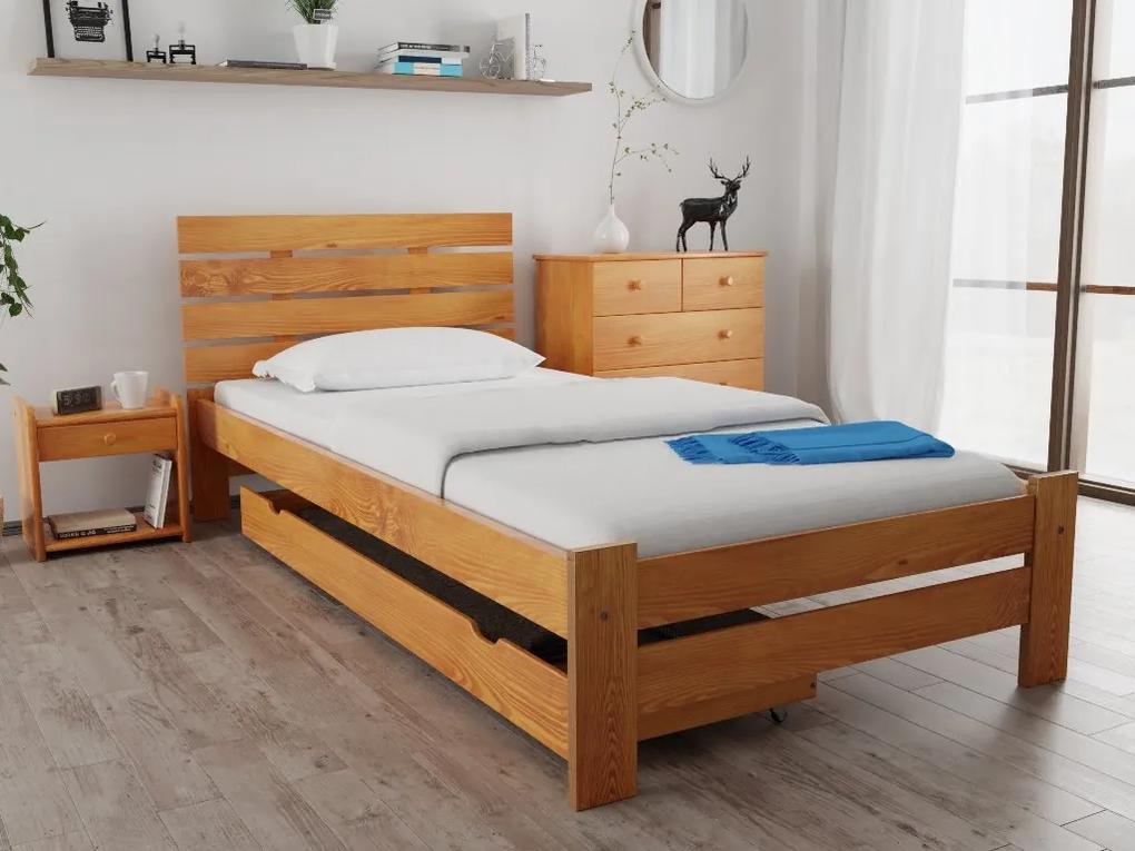 Posteľ PARIS zvýšená 90x200 cm, jelša Rošt: S latkovým roštom, Matrac: S matracom Economy 10 cm