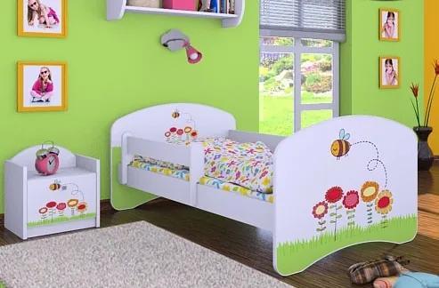 MAXMAX Detská posteľ bez šuplíku 160x80cm VČIELKA A KVETINKY