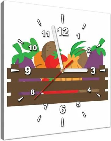 Obraz s hodinami Bednička so zeleninou 30x30cm ZP4056A_1AI