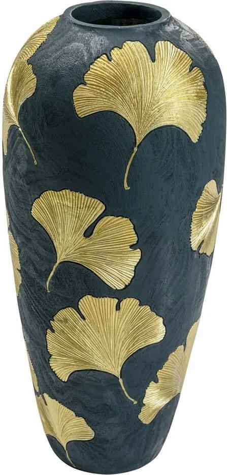 Tmavozelená váza so zlatými listami Kare Design legance, výška 74 cm