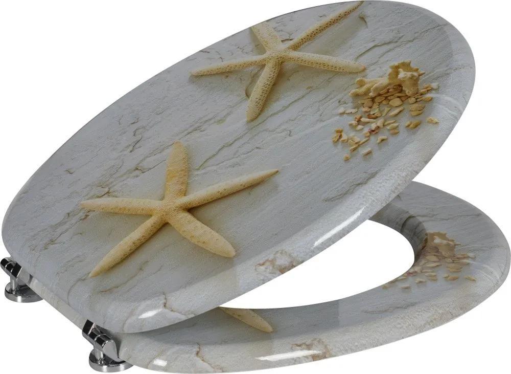 Funny HY1185 WC sedátko s potlačou morská hviezda, MDF, biele