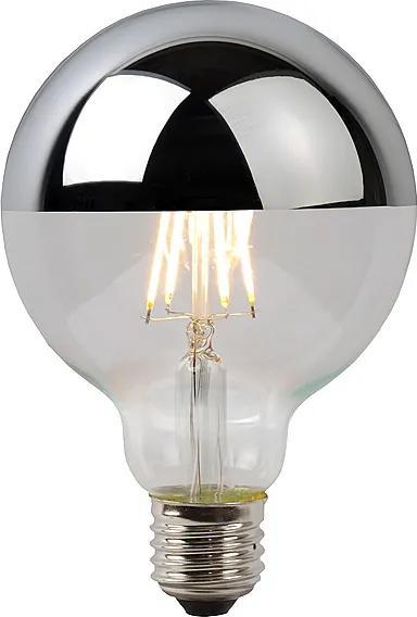LED GLOBE G125 6W Filament strieborný vrchlík