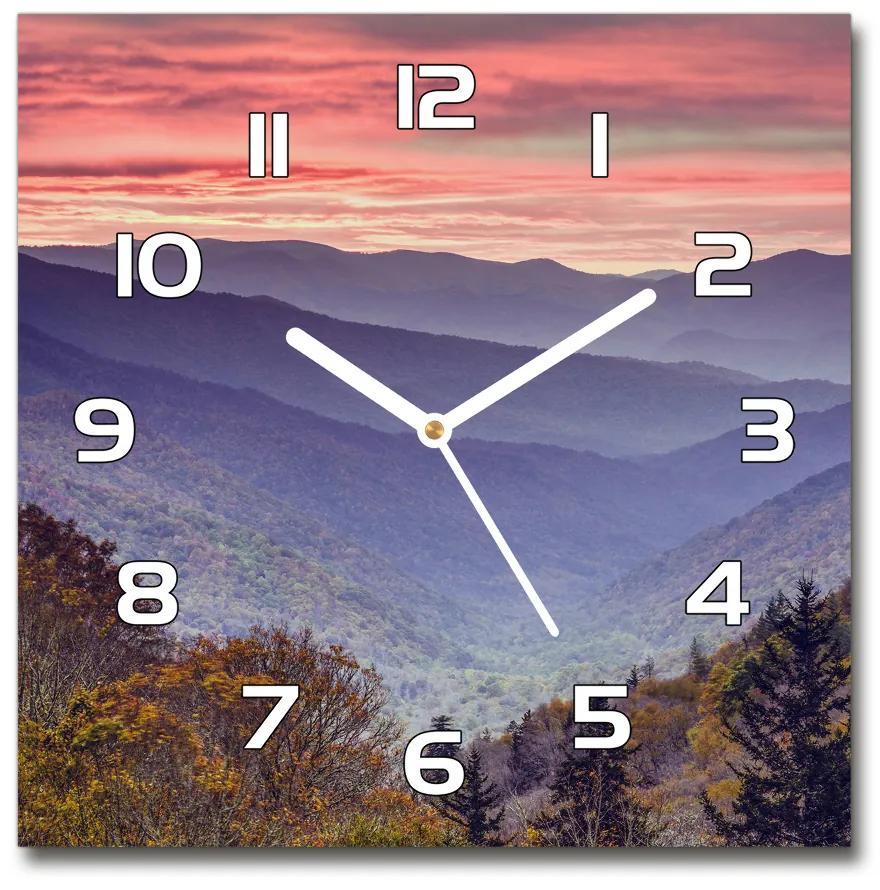 Sklenené hodiny štvorec Západ slnka hory pl_zsk_30x30_f_67690811