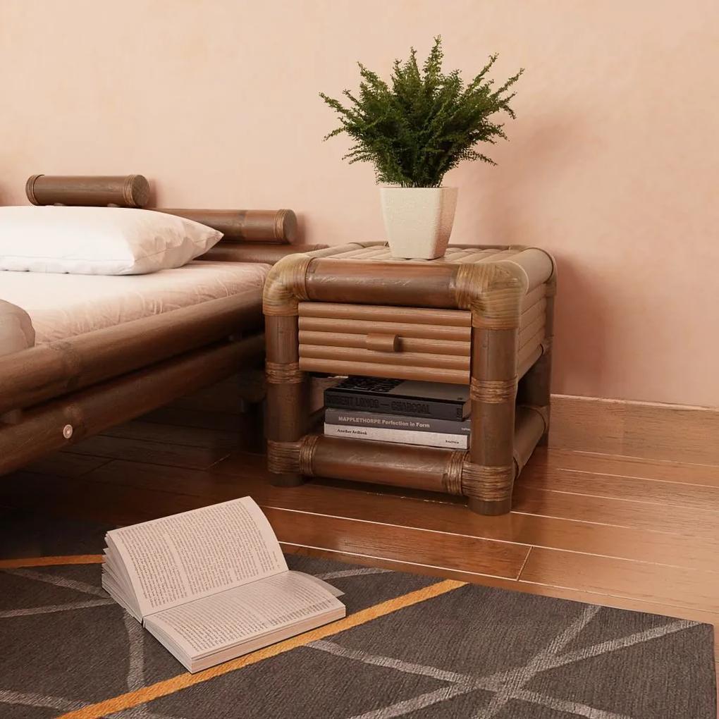 vidaXL Nočný stolík, 45x45x40 cm, bambus, tmavohnedý