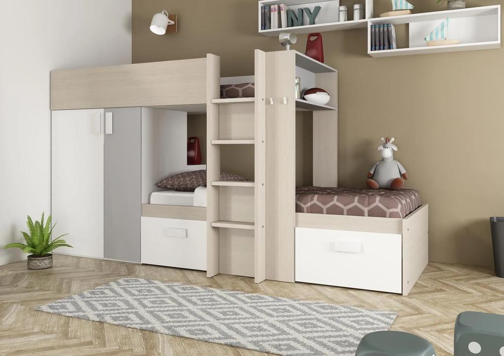 Poschodová posteľ Bo3- 90x200 - aluminium, bielená borovica
