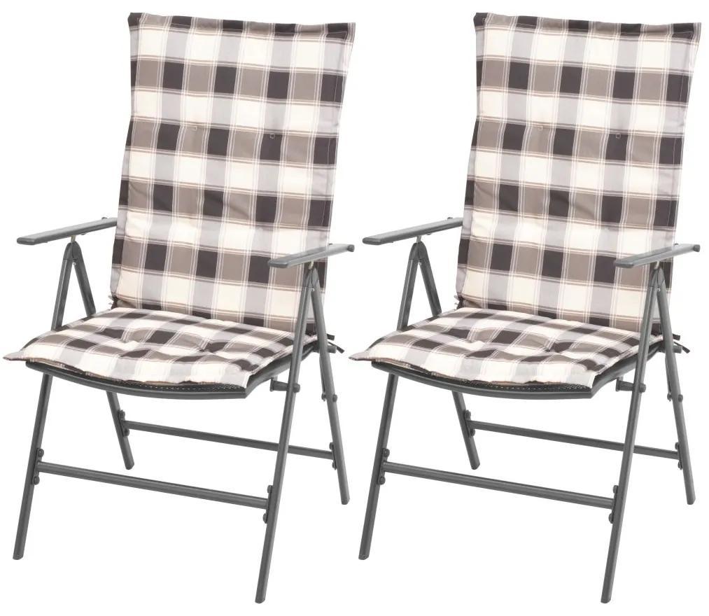 vidaXL Stohovateľné záhradné stoličky 2 ks s podložkami, oceľ, sivé