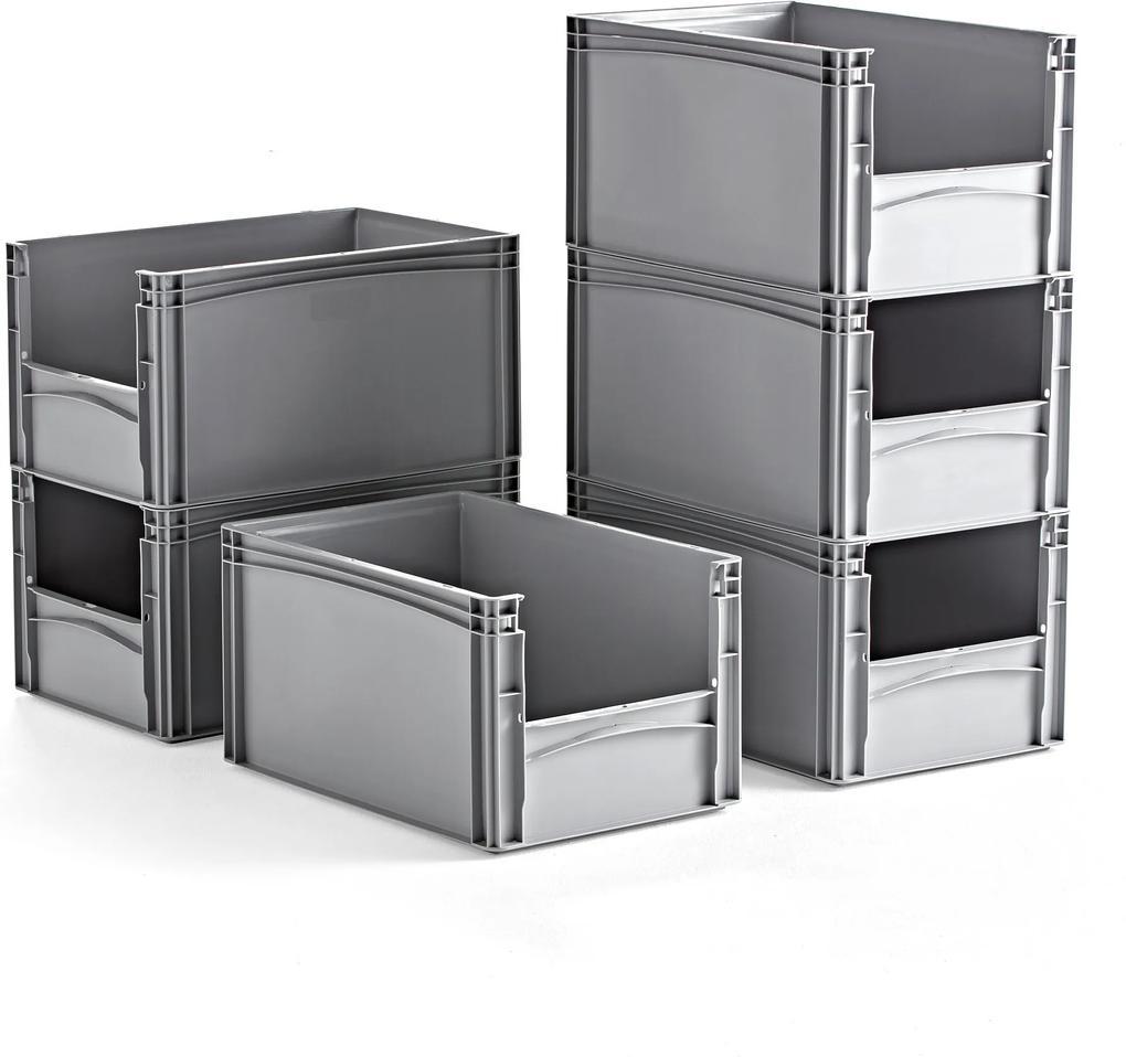 Plastové boxy, šedé, 600x400x320 mm, 6 ks