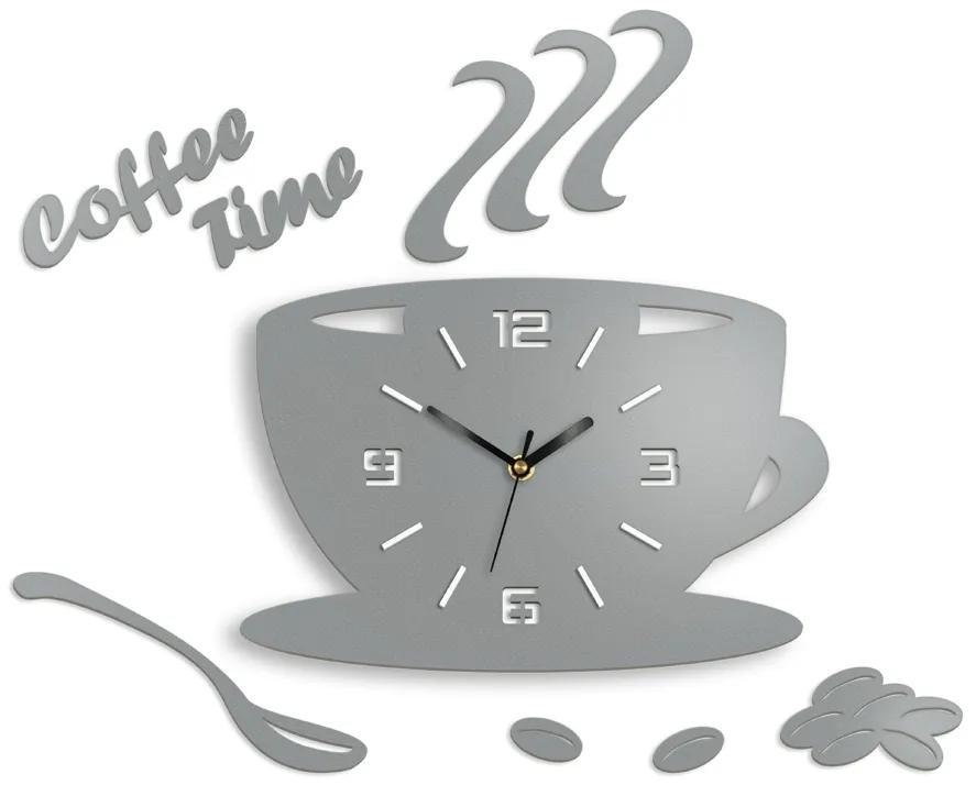 Mazur Nástěnné hodiny Coffee světle šedé