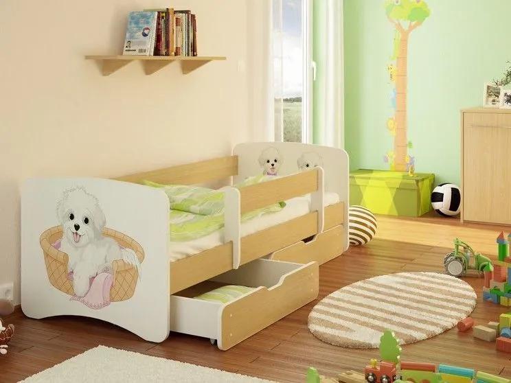MAXMAX Detská posteľ PSÍK V KOŠÍKU funny 160x70cm - bez šuplíku 160x70 pre všetkých NIE