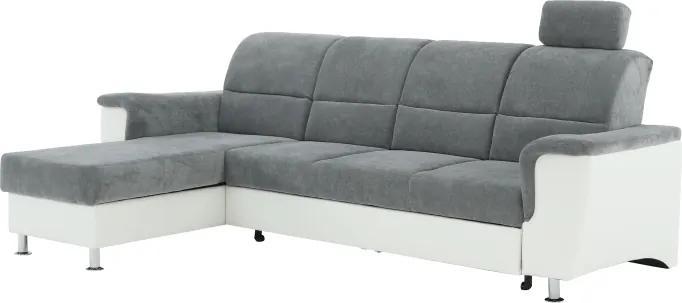 KONDELA Santiago RM L rohová sedačka s rozkladom sivá / biela